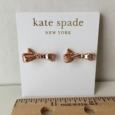 NEW Kate Spade Rose Gold Love Notes Bow Stud Earrings 14k Gold Fill O0RU0673