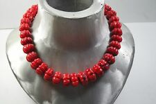 VINTAGE OLD NATURAL RED CORAL CARVED MELON SHAPED BEAD NECKLACE