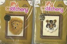 """""""LION & TIGER"""" 2 Embroidery Kits by vintage SUNSET DESIGNS Kits #431 & 430"""