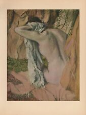 """1951 Vintage DEGAS """"AFTER THE BATH"""" LOVELY BATHING COLOR Art Print Lithograph"""