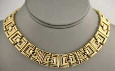 60s 70s VINTAGE Jewelry MONET RETRO MOD GOLD METAL EGYPTIAN REVIVAL NECKLACE 16""