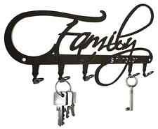 Family is Forever - KEY HOOK Wall Key Holder Hanger - Steel hooks design black