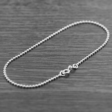 "Solid 925 Sterling Silver 7.5"" 1.5mm Bead Ball Chain Charm Bracelet"