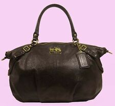 COACH 15955 MADISON Sophia Mahogany Leather LG Satchel Bag Msrp $398 *FREE S/H*
