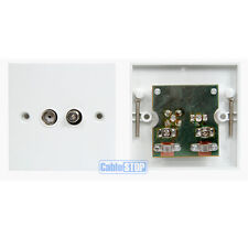 WHITE COAX FEMALE TV AERIAL & SATELLITE F SCREW TYPE FACE WALL PLATE  SOCKET SKY