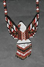 HUICHOL EAGLE NECKLACE MEXICAN NATIVE SPIRITUAL NIERIKA JEWELRY ETHNIC FOLK ART
