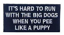 HARD TO RUN BIG DOG EMROIDERED IRON ON MC FUNNY BIKER PATCH