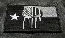PUNISHER SKULL TEXAS FLAG EMBROIDERED  Tactical Morale 3 INCH IRON ON PATCH