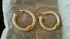 "Avon New Pinnacle Mesh Hoop Earrings Silver tone 1 3/8"" Diam."