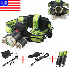 CREE 20000LM Headlamp XM-L 3 x T6 LED Headlight 18650 Light Charger Battery USA