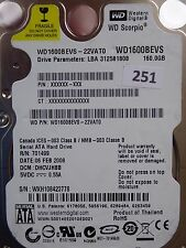 160GB Western Digital WD1600BEVS-22VAT0 | DHCVJHBB | 2060-701499-000 REV A #251