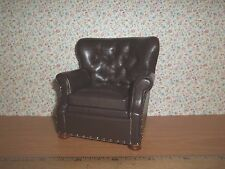 CHURCHILL BROWN LEATHER CHAIR - PLATINUM COLLECTION -  DOLL HOUSE MINIATURE