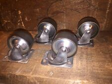 Vintage Set Of 4 Bassick 2-1/2 Inch Refurbished Cast Iron Industrial Casters