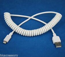 Fast Charger Quick Charging ONLY Coiled Cord USB Cable WHITE for iPhone 5s 5c 5