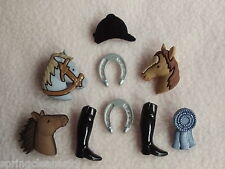 DRESS IT UP BUTTONS ~ TRIPLE CROWN ~ GYMKHANA ~ PONY ~ HORSE ~ ROSETTE ~ HAT