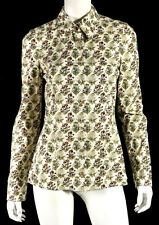 GUCCI White & Multi-Color Mushroom Print Poplin Button-Front Blouse 44