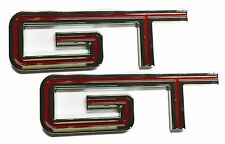 "x2 New Red / Chrome Shelby GT500 ""GT"" Emblem Replaces OEM Ford Mustang GT 500"