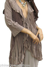 XXL Lagenlook Ruffled & Lace Jacket in Mocha