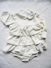 NEW Ralph Lauren Girls Velour Ivory Beige Long Sleeved Dress Knickers 6-9 months