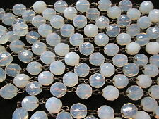Vintage 10mm Czech Glass Bead Chain Chandelier Faceted OPAL Glass 4 Feet Long