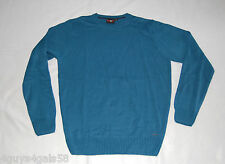 MENS Sweater WXY Turquoise Blue Crew Neck Pull Over LARGE 42-44