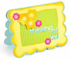 Sizzix Framelits Scallop Card w Flowers Sentiments Drop-ins #660148 MSRP $29.99