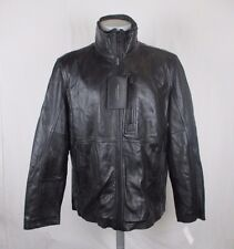 Marc New York Andrew Marc Men L Black Leather Jacket Removable Quilted Bib X312