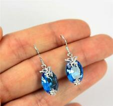 Pretty Solid 925 Sterling Silver & Blue Topaz Butterfly Drop / Dangle Earrings
