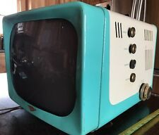Vintage 1950's Hotpoint Television Blue And White Euc Man cave Tv Aqua Retro