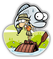 "Fisherman Cartoon Fish Car Bumper Sticker Decal 4"" x 5"""