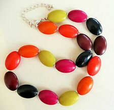 NECKLACE_LARGE OVAL BEADS IN VERY VIVID EYECATCHING COLOURS_SMALL BEAD DETAIL