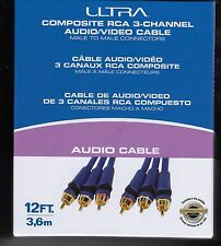 *NEW Ultra Composite RCA 3-Channel 12 Ft Audio/Video Cable, M-M