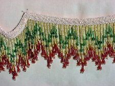 "BTY ~ Colorful Hand Beaded 3"" Glass Beaded Fringe Trim ~ Lampshades Costumes"