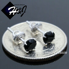 MEN WOMEN 925 STERLING SILVER 5MM BLACK ROUND CUT CZ SCREW BACK STUD EARRING*E88