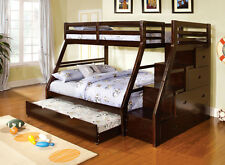 Youth Kids Wood Espresso Storage Stairway Twin over Full Bunk Bed with Trundle