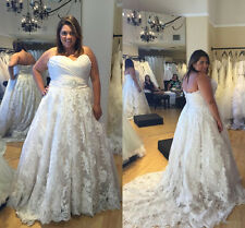 White/Ivory Lace Wedding Dresses Bridal Gown Custom Plus Size 18 20 22 24 26 28+