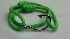 Green Paracord Nautical Hope Fishhook Bracelet Adjustable