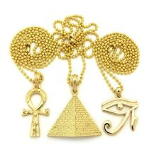 NEW ANKH CROSS, PYRAMID & EYE OF HERU PENDANT &BALL CHAINS NECKLACE SET RC1379