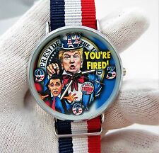 "DONALD TRUMP,""Your Fired Obama"" Red,White & Blue Band,MEN'S CHARACTER WATCH,941"