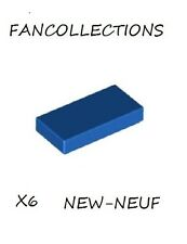 Lego - X6 Blue Tile 1 x 2 with Groove , 3069b NEUF
