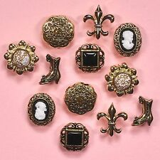 DRESS IT UP Buttons Victorian Miniatures 101 -  Vintage Cameos Gold