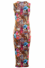 Ladies Celeb Aztec Floral Leopard Splash Summer Women's Midi Bodycon Dress