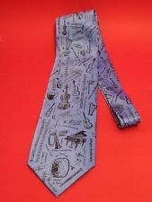 Orchestral Instruments Music Symbols Men's Silk Tie Blue Music Teacher Xmas Gift