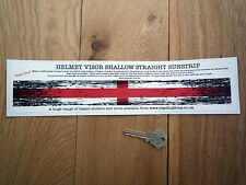 ENGLAND St Georges Flag Distressed HELMET VISOR Sticker SHALLOW STRAIGHT English