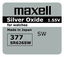 5 NEW SR626SW 377 Silver Oxide Watch Battery Made in Japan 12-2019