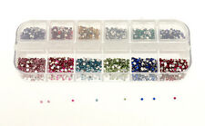 3000 x 2mm Round Nail Art Rhinestones Decoration Glitters Case DIY Nail Tips
