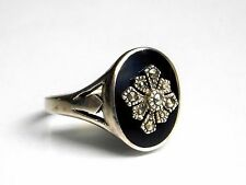 Antique Victorian Sterling Silver Onyx Marcasite Ring Signed Sz 7