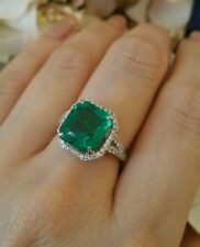 4.34 ct Fine Emerald and Diamond Ring in Platinum Halo setting - HM1664