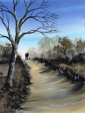 SARAH FEATHERSTONE, ORIGINAL WATERCOLOUR PAINTING, WINTER WALK, WOODLAND PATH