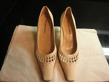 NWOB Gianmarco Lorenzi Cream Elongated Toe Leather Pump Sz 5.5/35.5